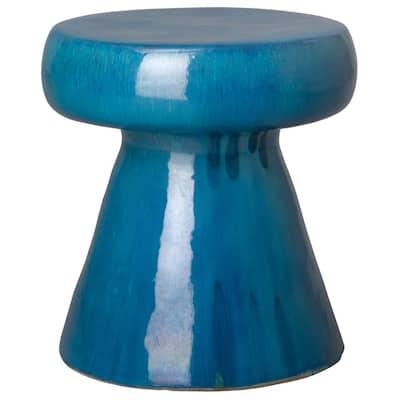Mushroom Dark Blue Ceramic Garden Stool
