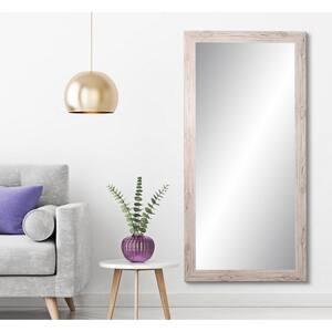 Medium Farmhouse Cream Wood Grain Composite Hooks Farmhouse Rustic Mirror (32 in. H X 66 in. W)