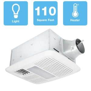 Radiance 110 CFM Ceiling Exhaust Bathroom Fan/Dimmable LED Light with Heater
