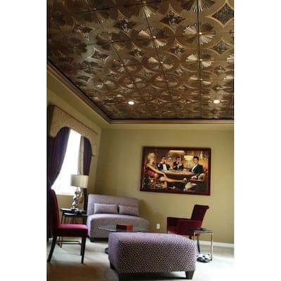 Sunset Boulevard 2 ft. x 2 ft. Nail Up PVC Ceiling Tile in Antique Gold (100 sq. ft./case)
