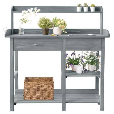 Outdoor Potting Bench Table Potters Benches Garden Work Bench Station Workstation with Drawer