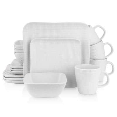 Stone Lain 32 Piece Stoneware Square Weave Dinnerware Set, Service for 8, White