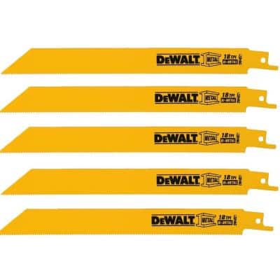 8 in. 18 Teeth per in. Demolition Reciprocating Saw Blade (5-Pack)