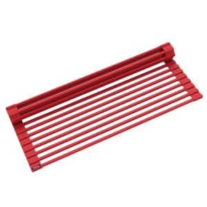 Multipurpose Red Over-Sink Roll-Up Dish Drying Mat Rack