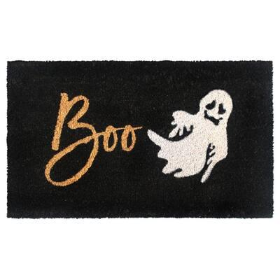 White 18 in. x30 in. Machine Tufted Boo Doormat