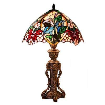 23 in. Bronze Floral Design Table Lamp with Stained Glass