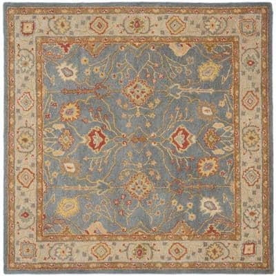 Safavieh Antiquity Light Blue Ivory 8 Ft X 8 Ft Round Area Rug At249a 8r The Home Depot