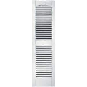14.5 in. x 43 in. Louvered Vinyl Exterior Shutters Pair in White