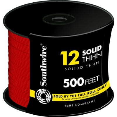 500 ft. 12 Red Solid CU THHN Wire