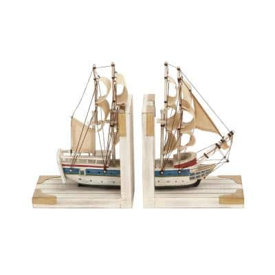 White Wood Coastal Boat Bookends 9 in. x 6 in. (Set of 2)