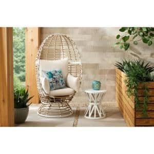 Brown Wicker Outdoor Patio Egg Lounge Chair with Beige Cushions