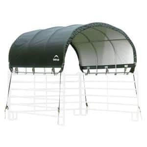 10 ft. W x 10 ft. L Green Corral Shelter for Livestock Shade with Rust-Resistant Powder Coated Green Frame