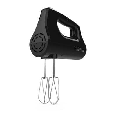5-Speed Black Hand Mixer with Turbo Boost