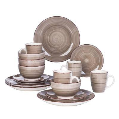Series Bella Dinnerware 16-Pieces Creme-I Porcelain Crockery in Vintage Look (Service Set for 4)