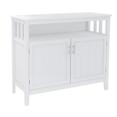 Yeekar 39.96 in. W x 15.75 in. D x 34.25 in. H White Freestanding Linen Cabinet with 2 Shelves in White