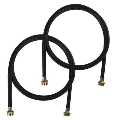 EPDM 8 ft. Black Washing Machine Hoses (2-Pack)