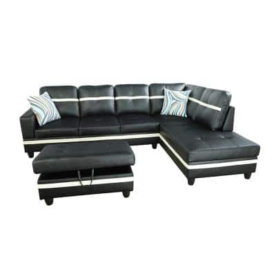 3-Piece-Black-Faux Leather-6 Seats-L-Shaped-Left Facing-Sectionals