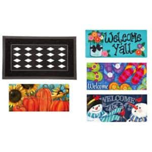 22 in. x 10 in. Seasonal Sassafras Switch Mat Collection w/ Decorative Rubber Frame (Set of 5)