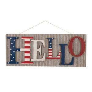 36.10 in. L Metal/Wooden Patriotic HELLO Wall Decor