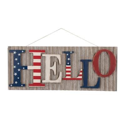 36.10 in. L Metal/Wooden Patriotic HELLO Wall Decor