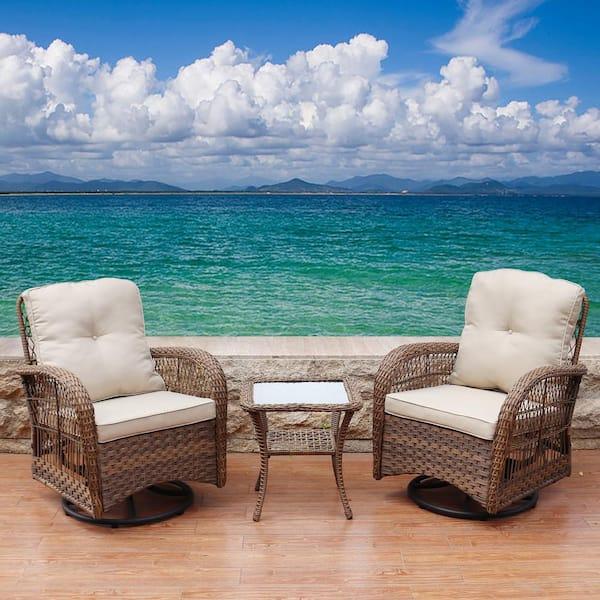 Maypex Light Brown 3 Piece Swivel, 3 Piece Wicker Patio Conversation Set With Beige Cushions