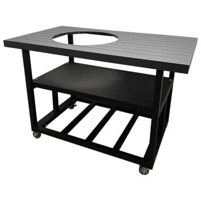 52 in. Aluminum Grill Cart Table for Kamado Joe Classic I in Charcoal Grey with Locking Wheels, Lifetime Warranty