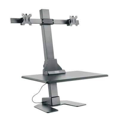 Premium Series Black Electric Sit-Stand Workstation, Dual Monitor