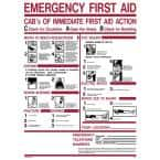 18 in. x 24 in. Emergency First Aid CAB's Sign Printed on More Durable, Thicker, Longer Lasting Styrene Plastic