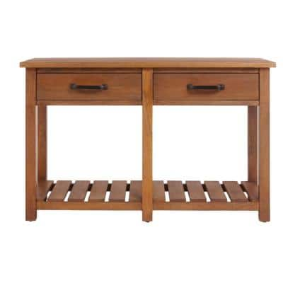 Danforth 48 in. Antique Patina Standard Rectangle Wood Console Table with Drawers