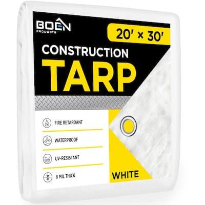 20 ft. W x 30 ft. L White Fire Retardant Construction Tarp