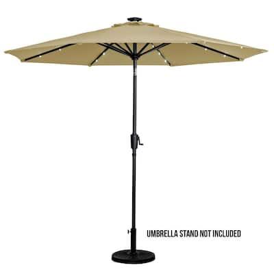 9 ft. Round Solar Lighted Market Patio Umbrella in Taupe