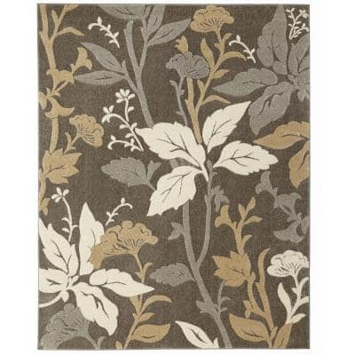 Blooming Flowers Gray 5 ft. x 7 ft. Area Rug