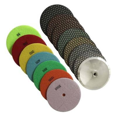 7 in. Dry Polishing Pad Set (50 - 3000 Grit) with Aluminum Backing Pad - for Granite, Marble, Concrete Countertops