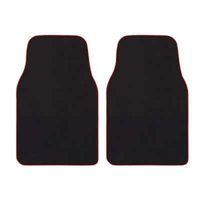 Premium Car Floor Mats - Universal Fit Car Mats for Cars, SUVs, Vans and Trucks, Black with Red Edging Set (2-Piece)