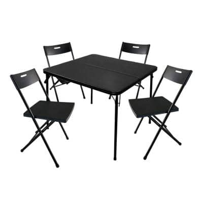 5-Piece 34 in. Card Table and 4 Chairs Furniture Set