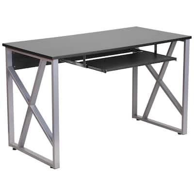 47.3 in. Rectangular Black Computer Desks with Keyboard Tray