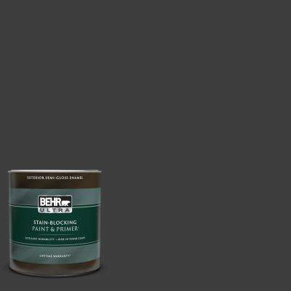 1 qt. #T13-3 Black Lacquer Semi-Gloss Enamel Exterior Paint & Primer