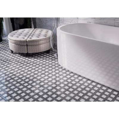 Bedford White 12.375 in. x 12.375 in. Basket Weave Marble Wall and Floor Mosaic Tile (1.06 sq. ft./Each)