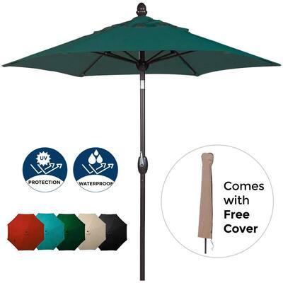 7-1/2 ft. Polyester Patio Umbrella in Dark Green
