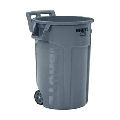 Brute 44 Gal. Grey Round Vented Wheeled Trash Can (2-Pack)