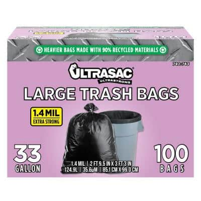 33 Gal. Large Trash Bags (100 Count)