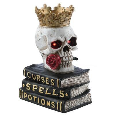 9 in. Skull Sitting On Books