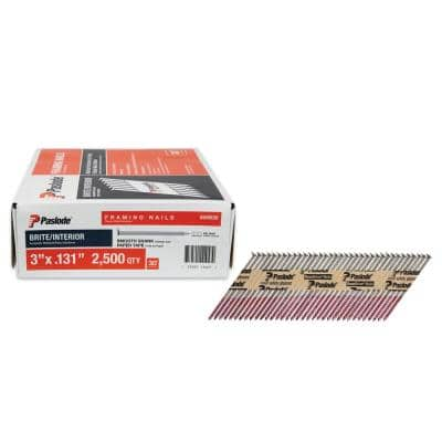 3 in. x 0.131-Gauge 30-Degree Brite Smooth Shank Paper Tape Framing Nails (2500 per Box)