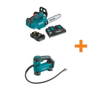 14 in. 18-Volt X2 (36-Volt) LXT Brushless Cordless Top Handle Chain Saw Kit (5.0Ah) with Bonus 18V LXT Cordless Inflator