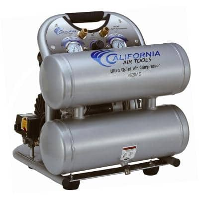 4620AC Ultra Quiet and Oil-Free 2.0 Hp, 4.6 Gal. Aluminum Twin Tank Electric Portable Air Compress