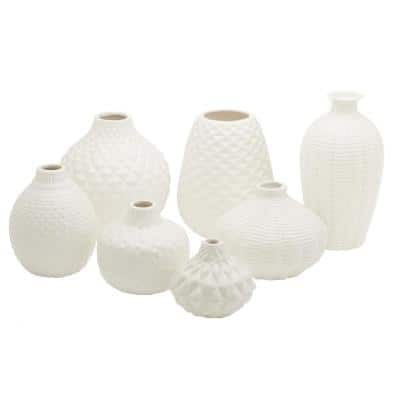 Artisan White Ceramic Carvings Bud Vases (Set of 7)