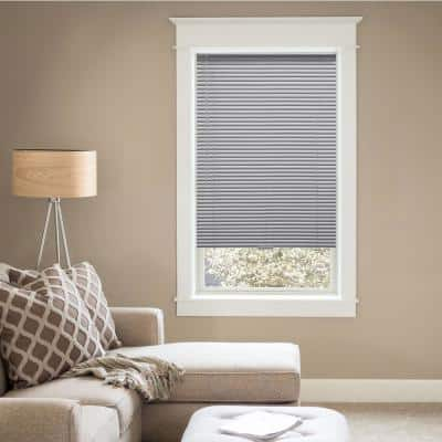 Gray Cordless Room Darkening 1 in. Vinyl Mini Blind for Window or Door - 22 in. W x 48 in. L