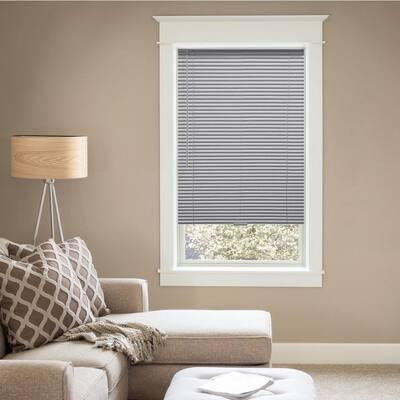 Gray Cordless Room Darkening 1 in. Vinyl Mini Blind for Window or Door - 59 in. W x 48 in. L