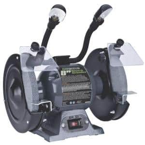 8 in. Bench Grinder with Dual, Flexible Lights and Eye Shield