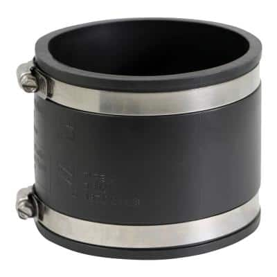 8 in. PVC Flexible Coupling with Stainless Steel Clamps